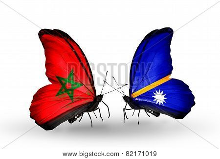 Two Butterflies With Flags On Wings As Symbol Of Relations Morocco And Nauru