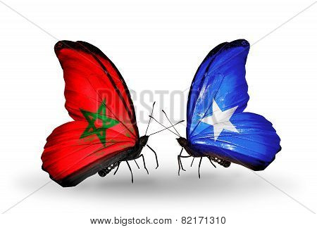 Two Butterflies With Flags On Wings As Symbol Of Relations Morocco And Somalia