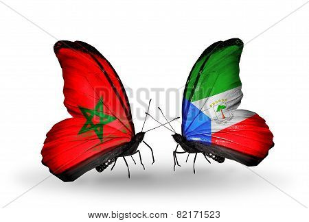 Two Butterflies With Flags On Wings As Symbol Of Relations Morocco And Equatorial Guinea
