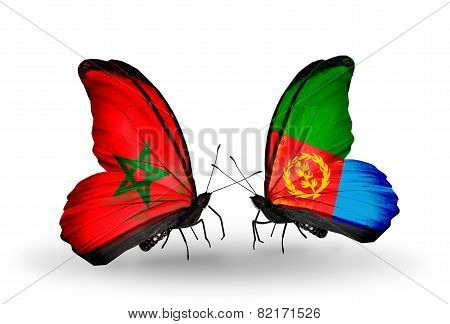 Two Butterflies With Flags On Wings As Symbol Of Relations Morocco And Eritrea