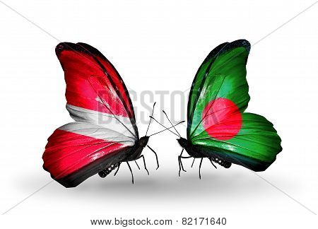 Two Butterflies With Flags On Wings As Symbol Of Relations Latvia And Bangladesh