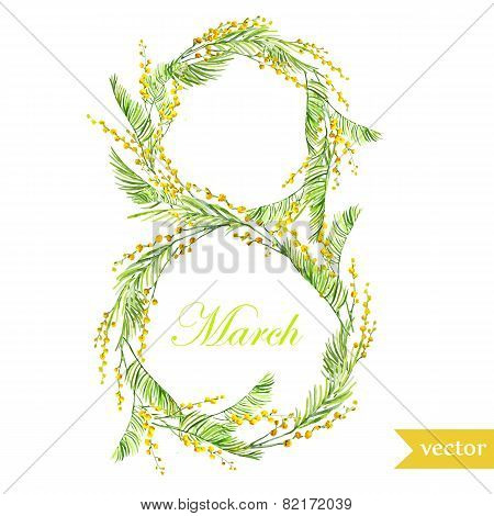 March 8, spring, flowers, card, symbol, mimosa, wreath,7