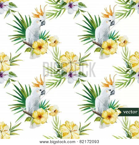 10 white parrot, hibiscus, tropical, palm trees, flowers, pattern, wallpaper