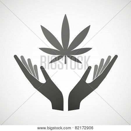 Two Hands Offering A Marijuana Leaf
