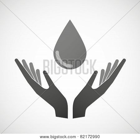Two Hands Offering A Blood Drop