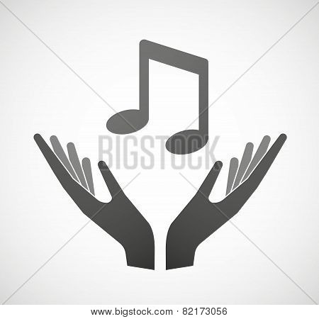 Two Hands Offering A Music Note
