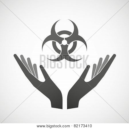 Two Hands Offering A Biohazard Sign