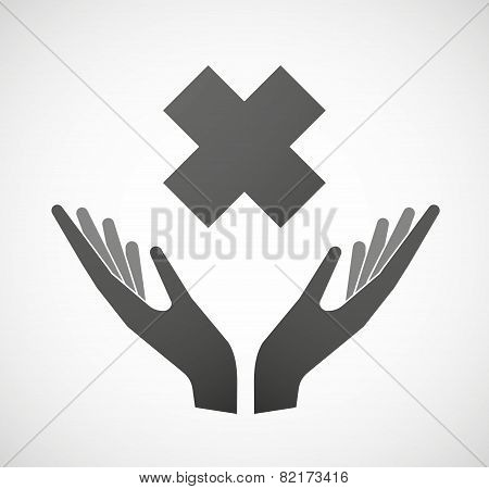 Two Hands Offering An Irritating Substance Sign
