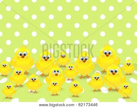 Easter Chicks Over Spring Background