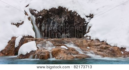 cold icy waterfall