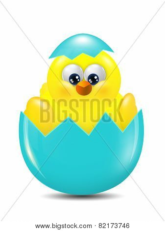 Easter Chick Hatched From Egg Over White Background