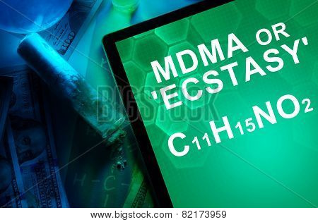 Tablet with the chemical formula of ecstasy or mdma.