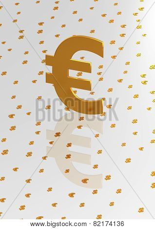 Big Three-dimensional Gold Euro Sign