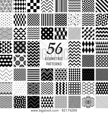 56 Vector Geometric Seamless Patterns