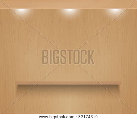 Realistic shelf on wooden wall