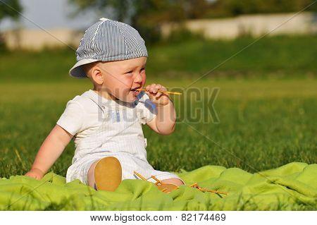 Eating Outdor Boy