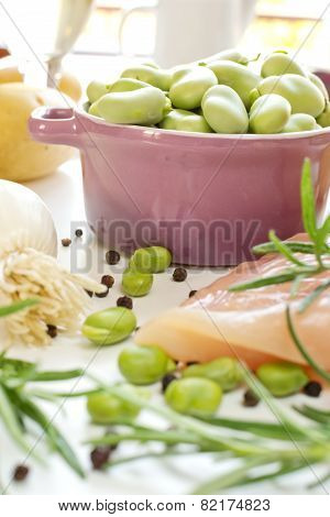 Fava Beans In Lilac Casserole With Ingredients