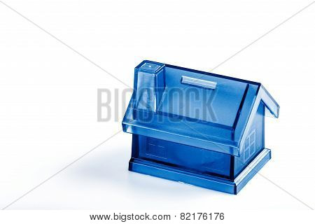 Blue House Money Box On White Background
