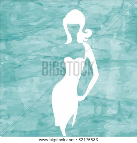 Abstract blue sea background with white girl