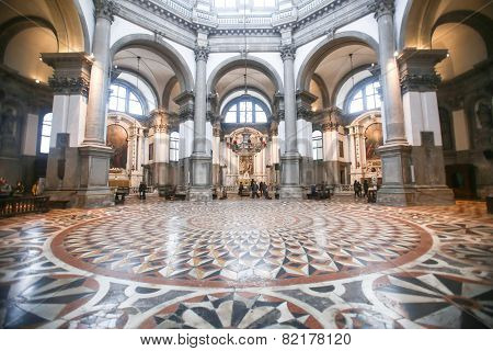 People Sightseeing Interior Of Santa Maria Della Salute In Venice