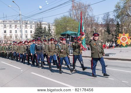 Cossacks march on parade