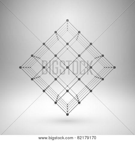 Wireframe mesh polygonal cube.