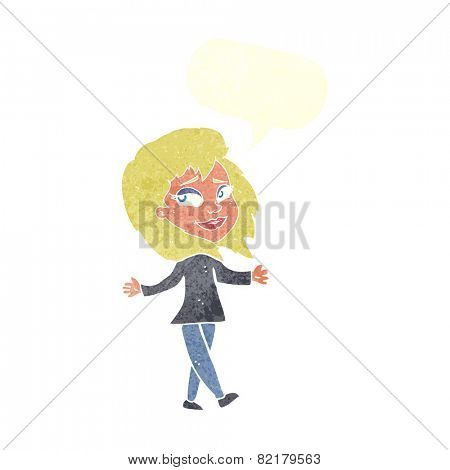 stress free woman cartoon with speech bubble