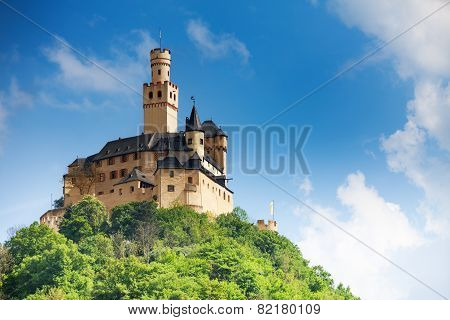 View Marksburg castle on top of the mountain