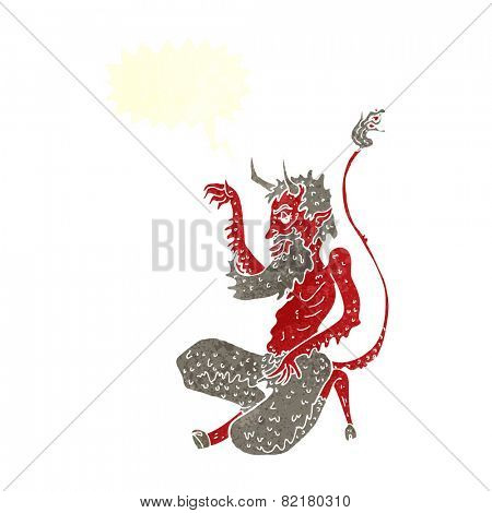 cartoon traditional devil with speech bubble