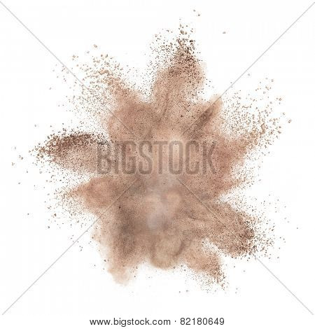 powder foundation explosion isolated on white background