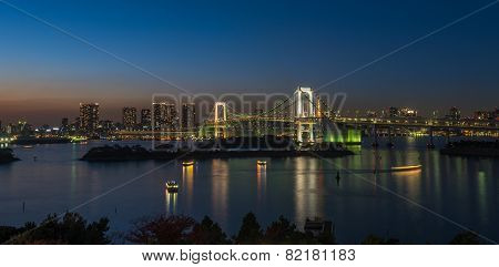 Panorama Of Rainbow Bridge And Tokyo Bay, Japan