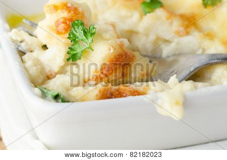 Cauliflower Cheese Dish With Fork