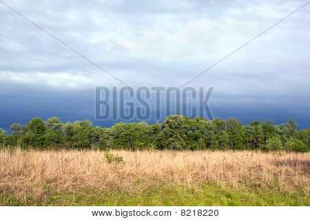 Tallgrass Prairie Remnant And Dramatic Sky In Spring