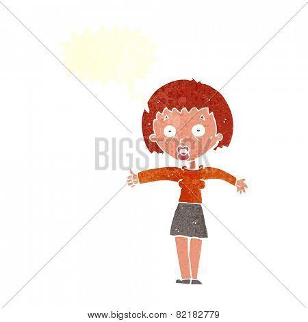cartoon amazed woman with speech bubble