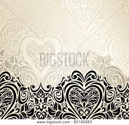 Fashionable decorative vintage valentine's day invitation background design