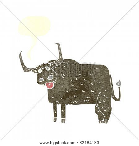 cartoon hairy cow with speech bubble