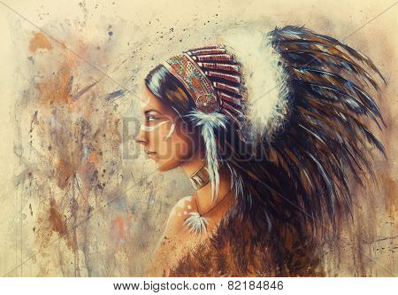 Profile Portrait with feathers orange ocher background illustration