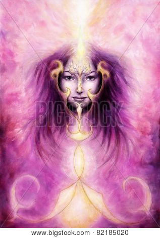 Beautiful Painting Of A Violett Angelic Spirit With A Woman's Face And Golden Ornaments illustration