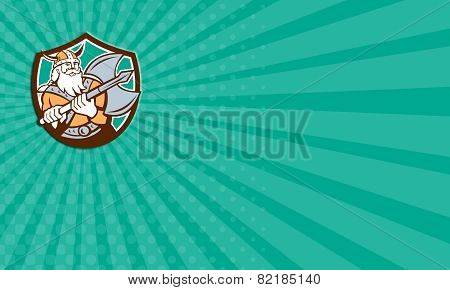 Business Card Viking Raider Barbarian Warrior Axe Shield Retro
