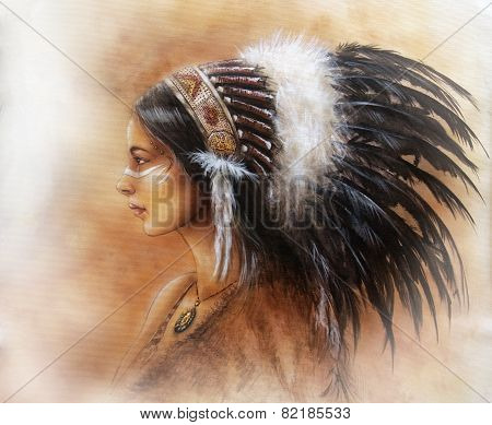 Young Indian Woman Wearing A Big Feather Headdress, A Profile Portrait