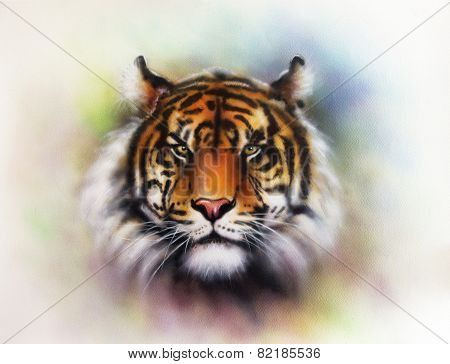 Painting Of A Bright Mighty Tiger Head On A Soft Toned Abstract Background, eye contact