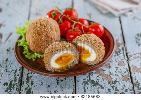 soft-boiled eggs on Scottish