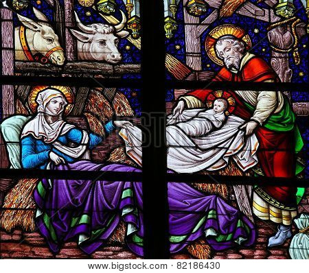 Nativity Scene Stained Glass