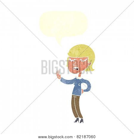 cartoon woman ignoring with speech bubble