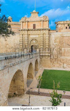Mdina entrence gate, in Malta
