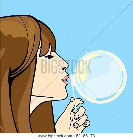 Girl blowing soap bubbles (raster version)