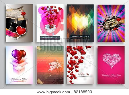 Set of Valentines Flyer Design, Invitation Cards Templates. Brochure Designs, Love Backgrounds. magazine covers or lover affair themed pages.