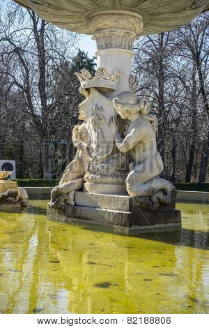 Classic fountain in the Retiro park , Madrid Spain