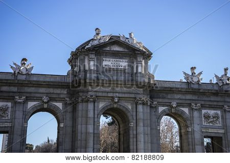 mythical alcala door in the capital of Spain, Madrid