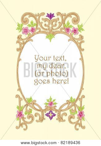 Floral woodcut picture frame vector illustration. Ornamental picture or text frame, floral 19th century woodcut style.